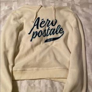 Aeropostale crop Off white hoodie with blue logo